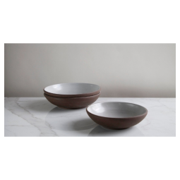 "Jono Pandolfi 10.5"" Coupe Entree Bowl – Dark Brown/White"