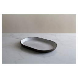 Jono Pandolfi Medium Oval Tray – Dark Brown/White