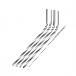Westmark 4 Stainless Steel Straws + Cleaning Brush